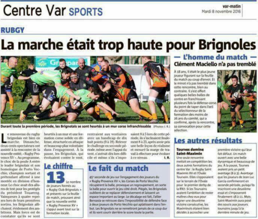 Article Var-matin du 08 nov. 2016